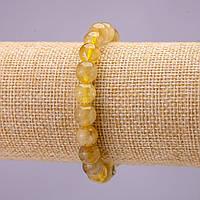 Браслет из натурального камня Кварц Золотистый Волосатик гладкий шарик d-8(+-)мм на резинке L-18см