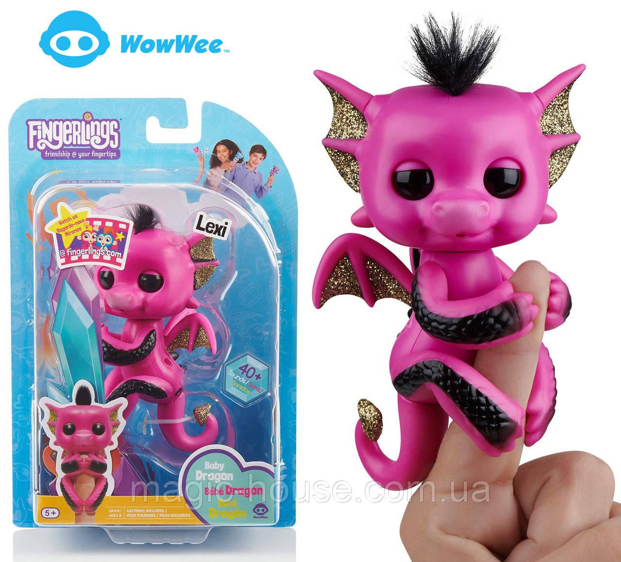 Оригинальный интерактивный ручной дракончик Лекси Fingerlings Pink and Black Glitter Dragon Lexi