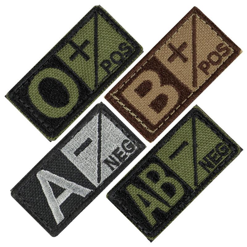 Оригинал Шеврон патч группы крови Condor BLOOD TYPE PATCH 229 4 (AB+), Фоліадж (Foliage)/Чорний
