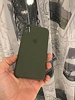Силиконовый чехол для Iphone XR(Зеленый темный)Silicone case накладка бампер темный с подкладкой внутри
