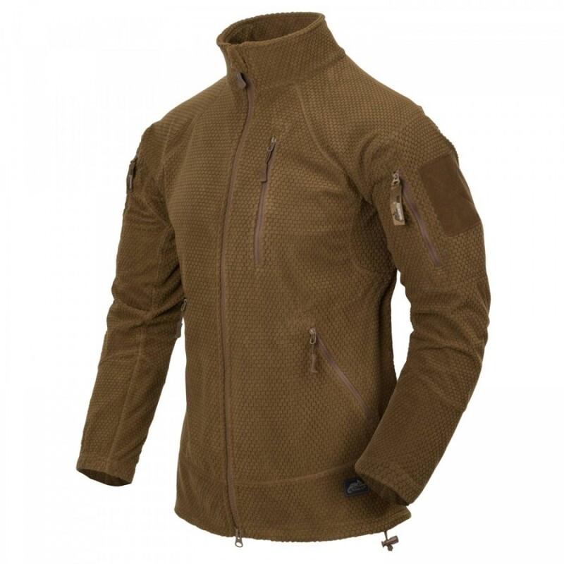Оригинал Флисовая куртка Helikon-Tex ALPHA TACTICAL JACKET - GRID FLEECE BL-ALT Small, Койот (Coyote)