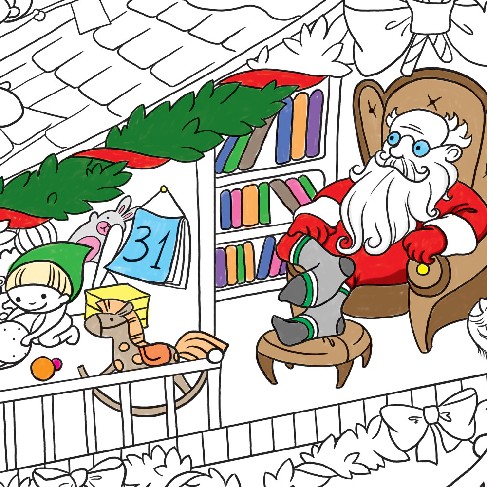Плакат-розмальовка Новорічна. Будинок Санта Клауса