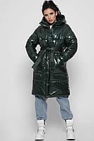 Длинная зимняя куртка из лаковой плащевой ткани LS-8884-30