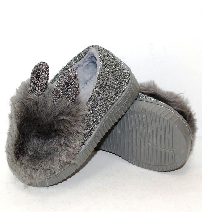 Плюшевые детские тапочки с мехом и ушками зайчика