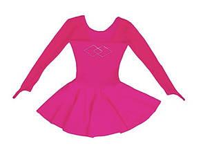 Боди для танцев, гимнастики с юбкой для балета,хореографии малиновый, фото 2