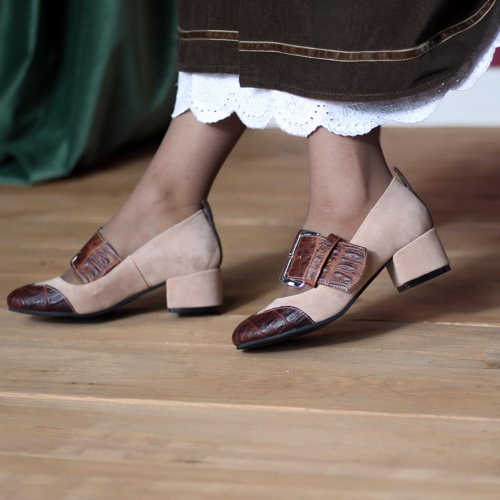 Туфли с широким ремешком через подъем, каблук 4см, цвет беж