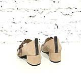 Туфли с широким ремешком через подъем, каблук 4см, цвет беж, фото 4