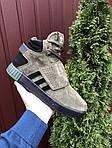Мужские зимние кроссовки Adidas Tubular (темно-зеленые) 10040, фото 7