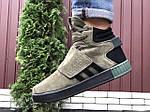 Мужские зимние кроссовки Adidas Tubular (темно-зеленые) 10040, фото 3