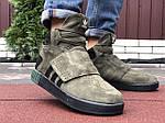 Мужские зимние кроссовки Adidas Tubular (темно-зеленые) 10040, фото 4