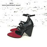 Туфли-деленки с ремешками и конусным каблуком 8см, цвет красная ягода/ черный, фото 2