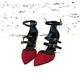 Туфли-деленки с ремешками и конусным каблуком 8см, цвет красная ягода/ черный, фото 3