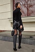 Шикарная кожаная асимметричная юбка