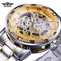 Годинники наручні чоловічі жіночі механічні скелетоны Winner 8012 Diamonds Automatic Silver-Gold 1099-0035