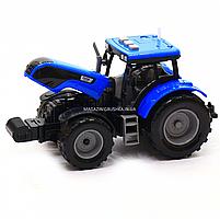 Машинка ігрова автопром «Синій трактор з відкритим причепом» (світло, звук, пластик) 7925ABCD, фото 7