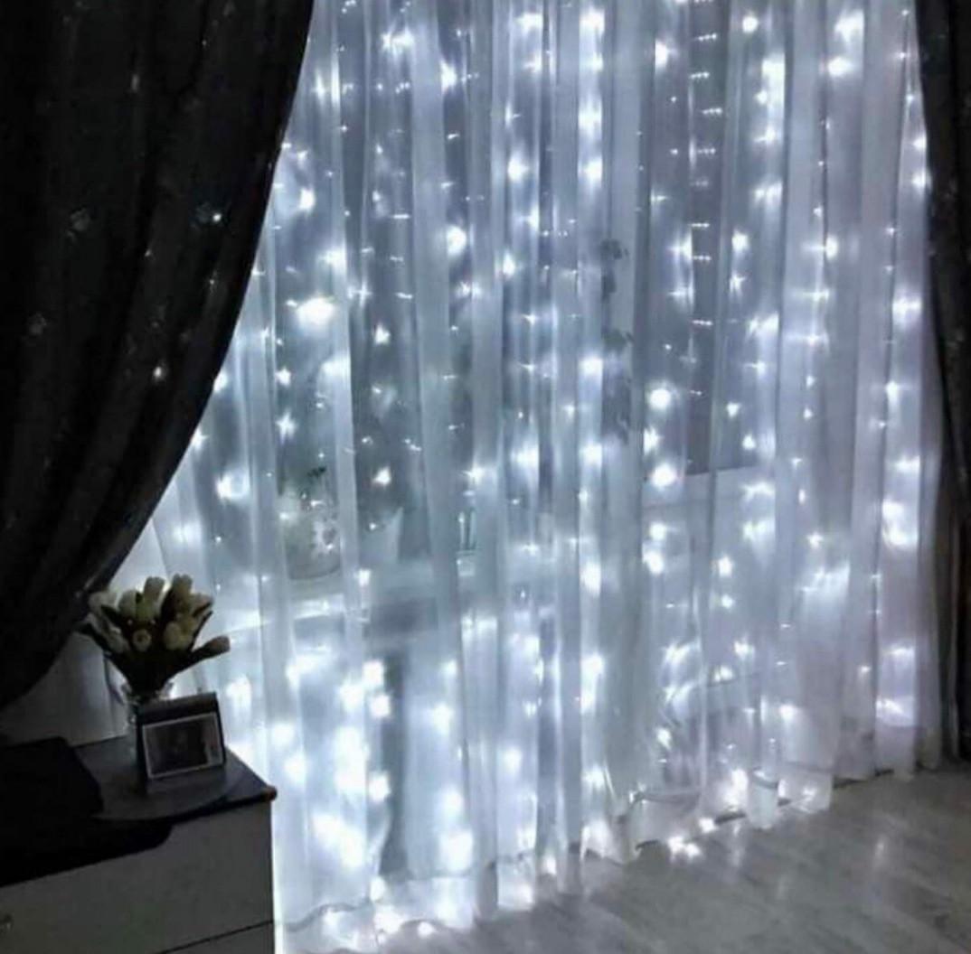 """Новорічна світлодіодна гірлянда шторка дощ """"Водоспад"""" 3х2 метра 320 ламп LED (теплий, білий)"""