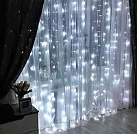 """Новорічна світлодіодна гірлянда шторка дощ """"Водоспад"""" 3х2 метра 320 ламп LED (теплий, білий), фото 1"""