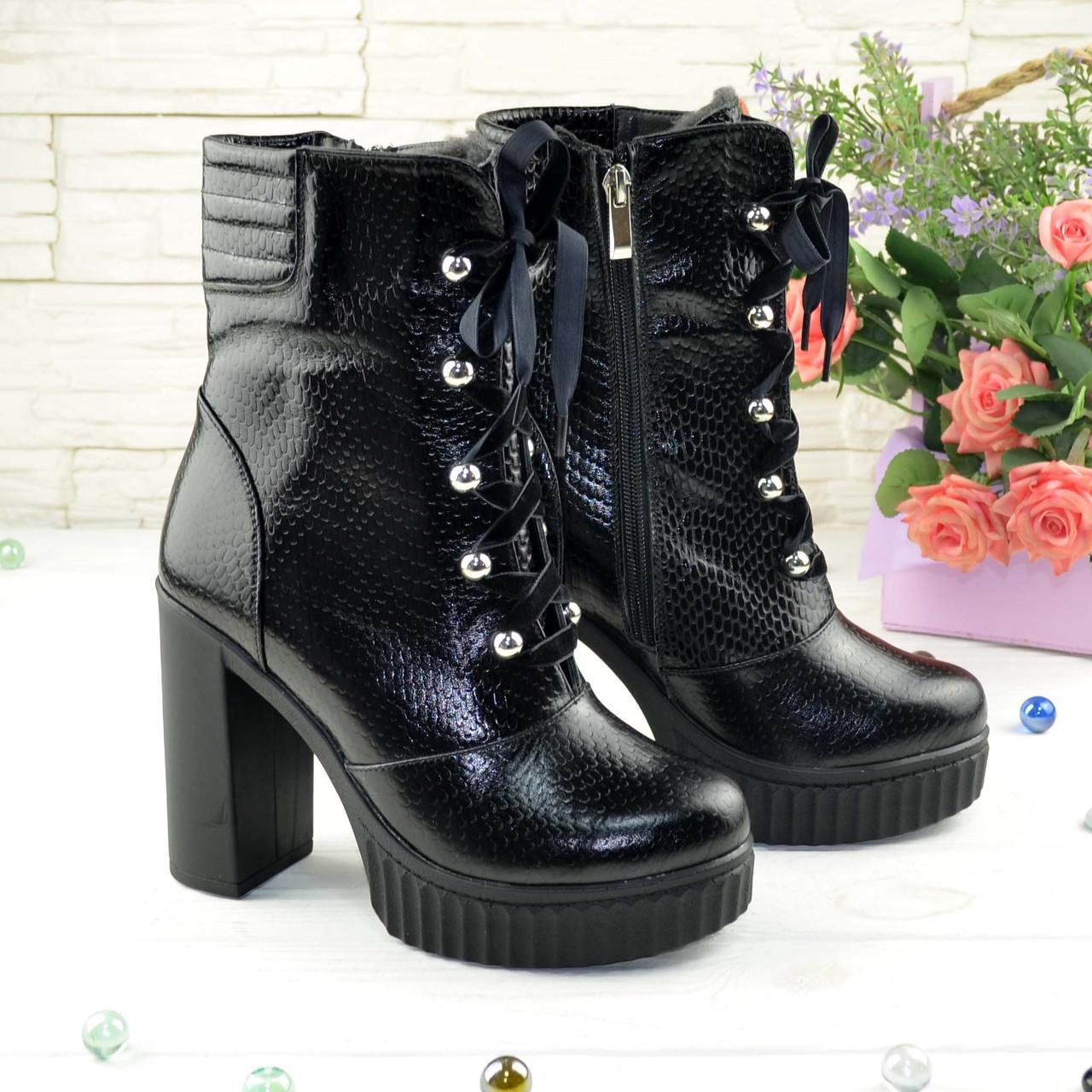 Ботинки кожаные женские на высоком устойчивом каблуке, цвет черный