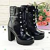 Ботинки кожаные женские на высоком устойчивом каблуке, цвет черный, фото 2