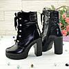 Ботинки кожаные женские на высоком устойчивом каблуке, цвет черный, фото 3