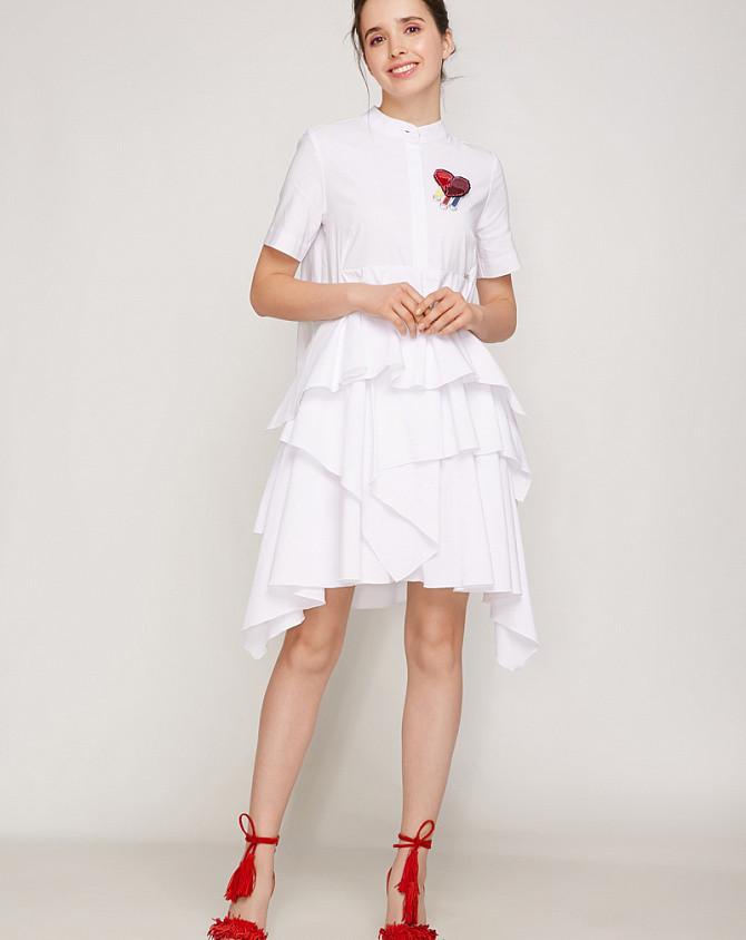 Платье женское с отрезной юбкой белое летнее Modna KAZKA