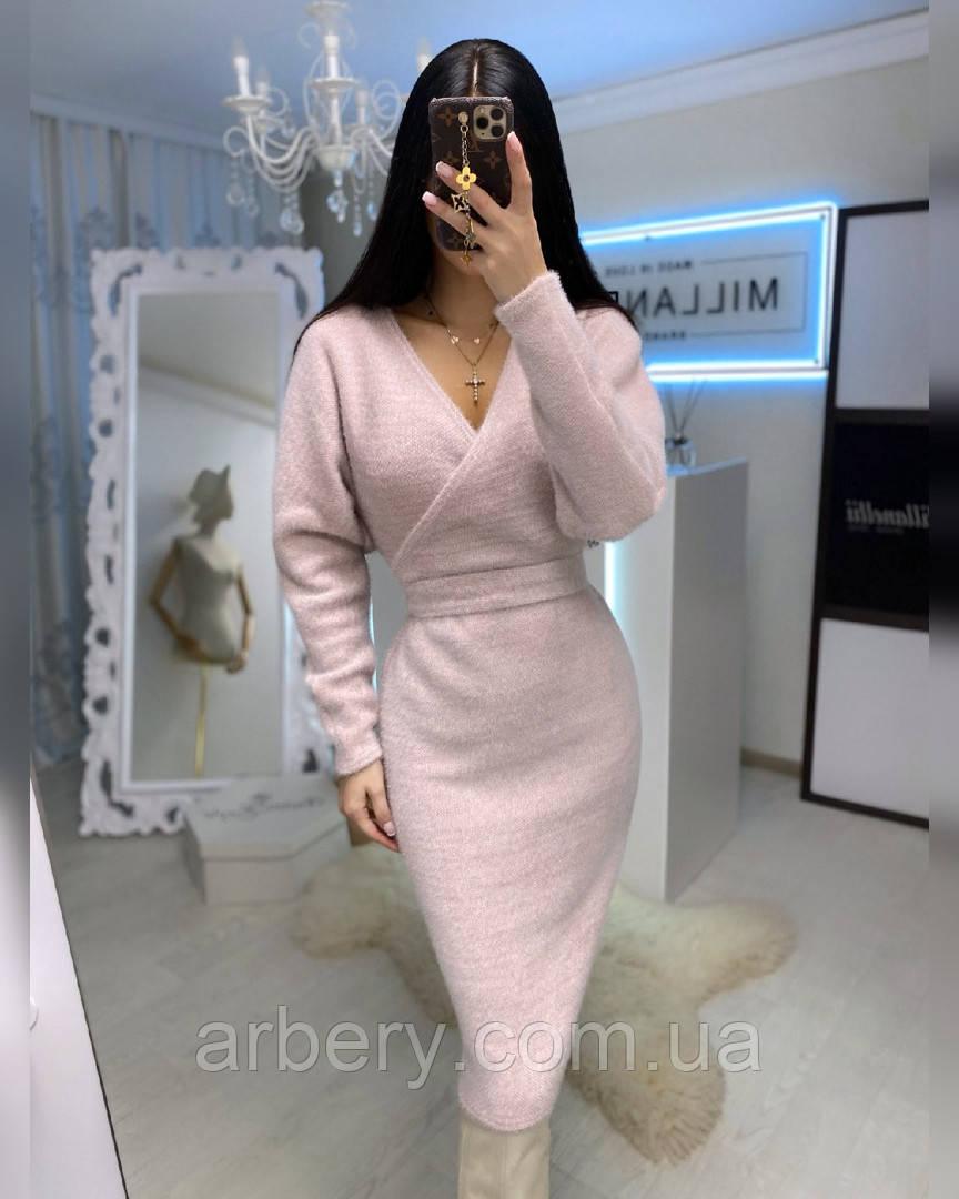 Суппер нежное теплое платье с поясом