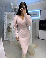 Суппер нежное теплое платье с поясом, фото 1