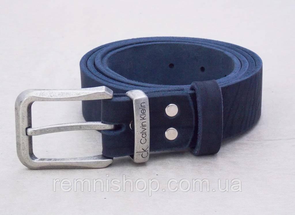 Кожаный мужской синий ремень для джинс