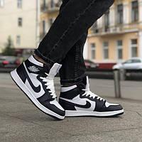 Мужские модные кроссовки Nike Jordan 1 Retro Black/white