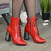 Ботинки кожаные женские на высоком каблуке. Цвет красный, фото 2