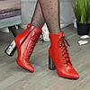 Ботинки кожаные женские на высоком каблуке. Цвет красный, фото 3