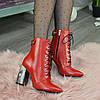 Ботинки кожаные женские на высоком каблуке. Цвет красный, фото 4