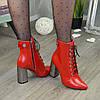 Ботинки кожаные женские на высоком каблуке. Цвет красный, фото 5