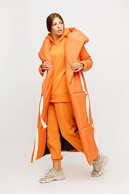 Женское длинное зимнее пальто-одеяло оранжевое
