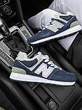 Женские зимние кроссовки New Balance NB 574 на меху PA298 синие, фото 9