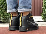 Мужские зимние кроссовки Nike Air Force (черно-оранжевые) 10057, фото 3