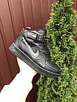 Мужские зимние кроссовки Nike Air Force (черно-оранжевые) 10057, фото 4