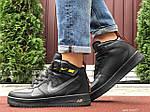Мужские зимние кроссовки Nike Air Force (черно-оранжевые) 10057, фото 5