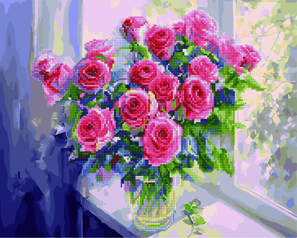 Алмазная мозаика Розовые розы в вазе, 40x50см, cложность 1, Украина