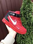 Мужские зимние кроссовки Nike Air Force (красные) 10060, фото 4