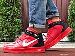 Мужские зимние кроссовки Nike Air Force (красные) 10060, фото 5