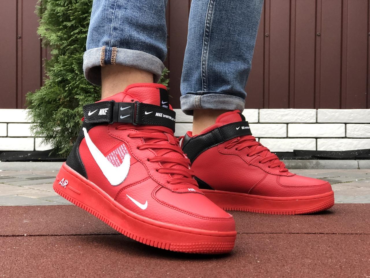 Мужские зимние кроссовки Nike Air Force (красные) 10060