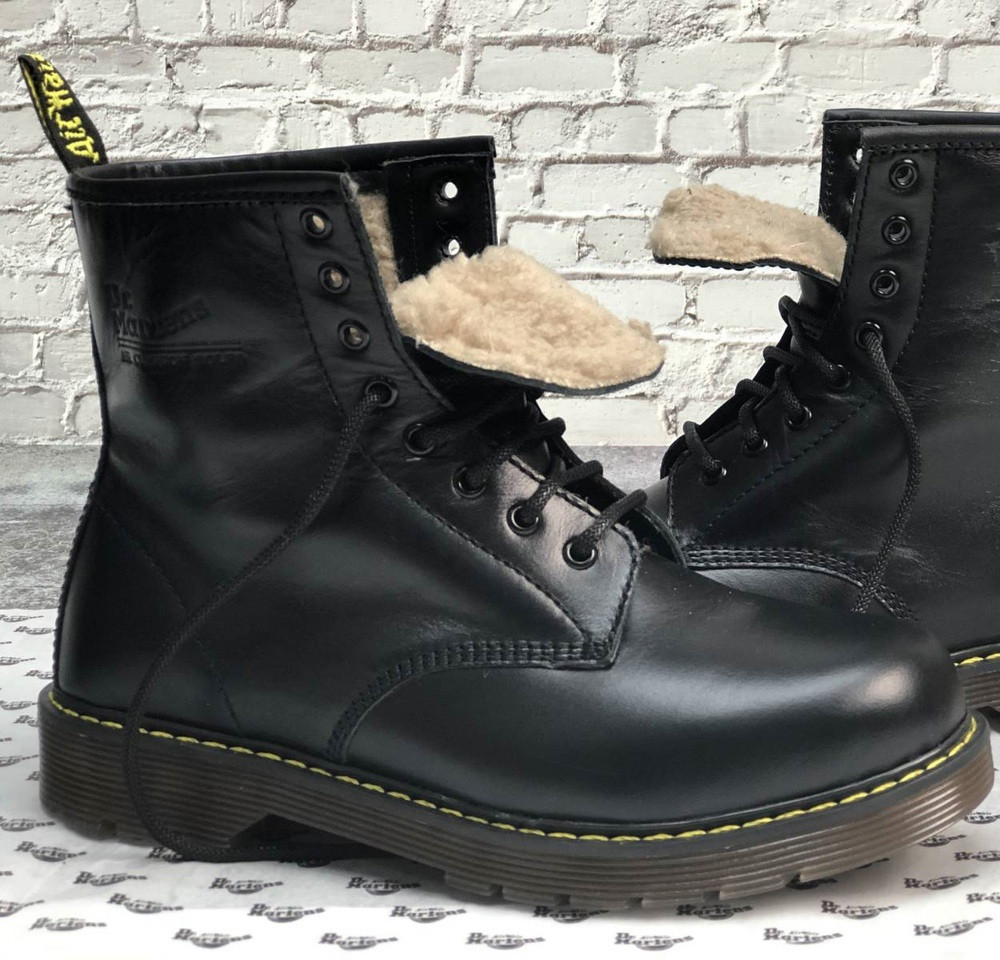 Зимние мужские ботинки Dr.Martens мартинс черные на меху теплые 41-44р. Живое фото. Реплика
