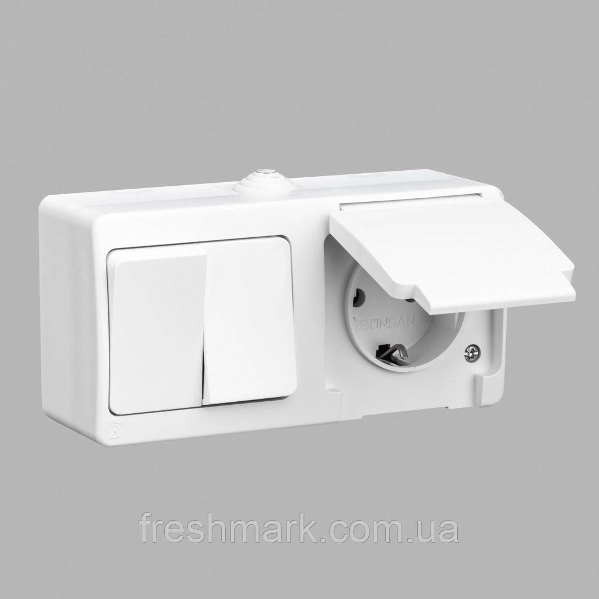 Блок выключатель двухклавишный + розетка с заземлением GUNSAN Nemliyer влагозащищенный Белый