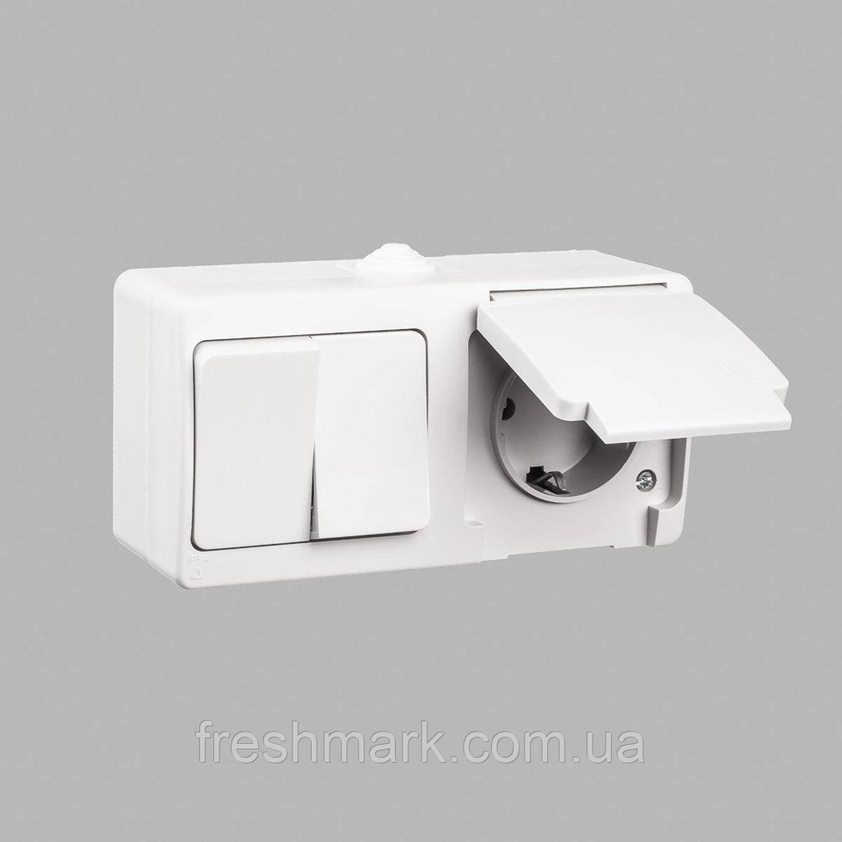 Блок выключатель двухклавишный + розетка с заземлением GUNSAN Nemliyer влагозащищенный Кремовый