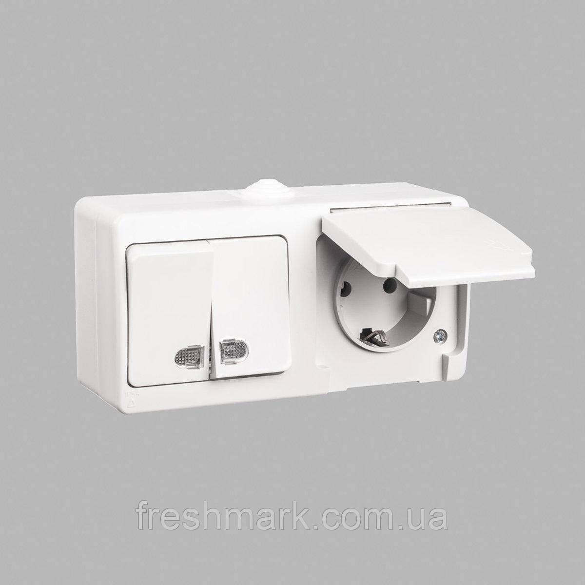 Блок выключатель двухклавишный с подсветкой + розетка с заземлением GUNSAN Nemliyer влагозащищенный Серый