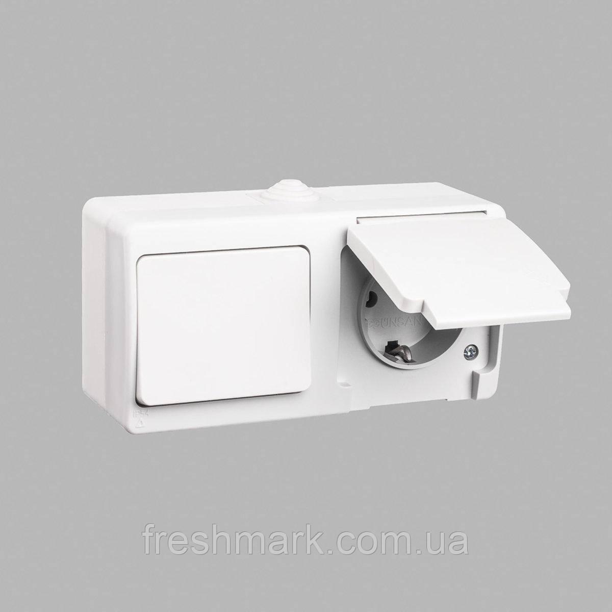 Блок выключатель одноклавишный + розетка с заземлением GUNSAN Nemliyer влагозащищенный Белый
