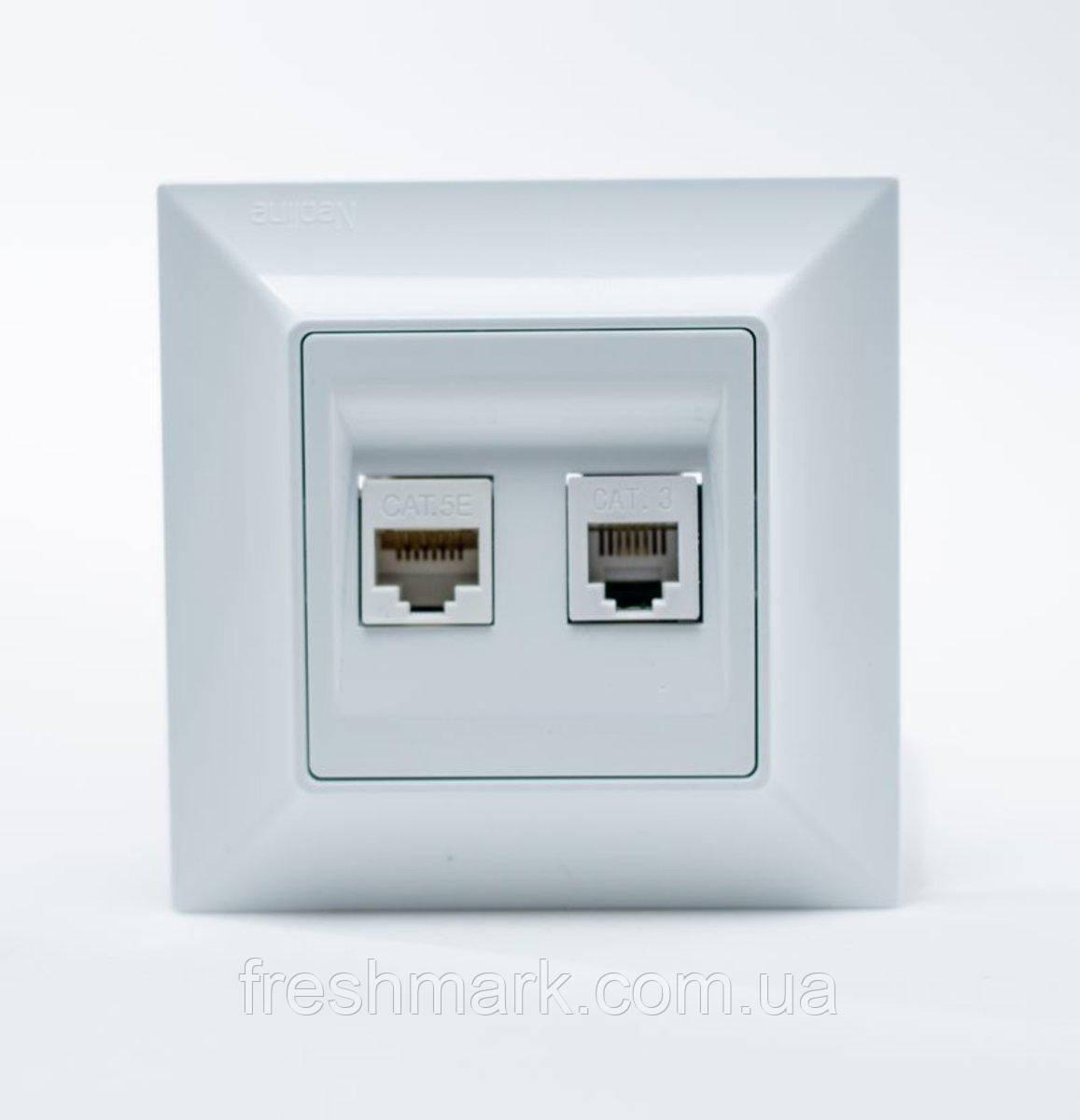 Розетка компьютерная-телефонная GUNSAN Neoline cat.5E Белая