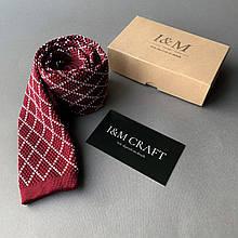 Галстук I&M Craft вязаный бордовый с белыми ромбами (020210)