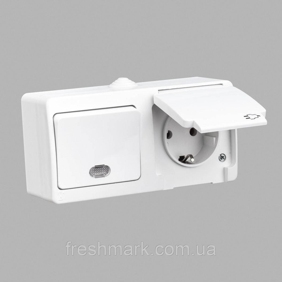Блок выключатель одноклавишный проходной с подсветкой + розетка с заземлением GUNSAN Nemliyer влагозащищенный